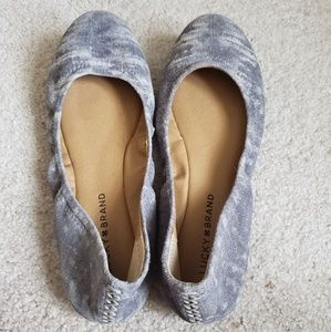 Lucky Brand Grey pattern leather Ballet flats